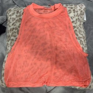 Peach mesh top